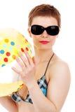 Sfera di spiaggia e della donna Fotografie Stock Libere da Diritti