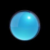 Sfera di vetro blu sul nero Fotografia Stock