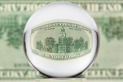 Sfera di vetro, dollaro, tre Immagini Stock Libere da Diritti