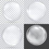 Sfera di vetro trasparente bianca su un fondo a quadretti Immagini Stock