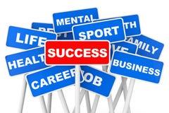 Sfera differente 3d Segno dell'insegna di successo Immagine Stock Libera da Diritti