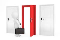 Sfera differente 3d Uomo d'affari e tre porte Immagine Stock Libera da Diritti