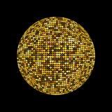 Sfera dorata della discoteca Palla illuminata brillante della discoteca su un fondo scuro per i manifesti ed altro delle alette d Immagini Stock