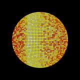 Sfera dorata della discoteca Palla illuminata brillante della discoteca su un fondo scuro per i manifesti ed altro delle alette d Fotografie Stock Libere da Diritti