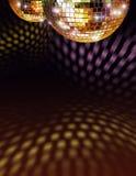 Sfera dorata dello specchio della discoteca Fotografia Stock Libera da Diritti