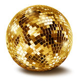Sfera dorata dello specchio della discoteca Fotografie Stock