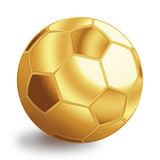 Sfera dorata di gioco del calcio Fotografie Stock