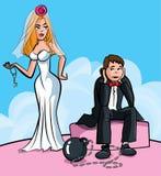 Sfera e catena del fumetto. Sposato appena Fotografia Stock