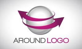Sfera e frecce di logo Immagini Stock
