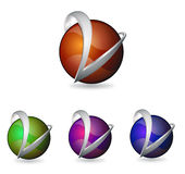 Sfera e metallo di logo Fotografie Stock Libere da Diritti