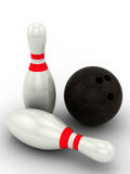 Sfera e perni di bowling Fotografie Stock Libere da Diritti