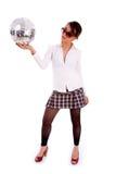 Sfera femminile attraente della discoteca della holding Immagine Stock Libera da Diritti