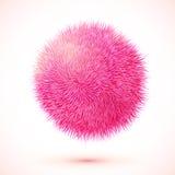Sfera isolata vettore lanuginoso rosa Fotografie Stock