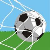 Sfera nell'obiettivo - gioco del calcio Fotografia Stock