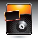 Sfera otto sulla bandiera stilizzata arancione Fotografia Stock Libera da Diritti