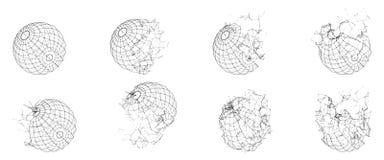 Sfera poligonale rotta di Wireframe Forma geometrica fratturata Linee poligoni della rete del cerchio Immagine Stock