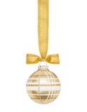 Sfera a quadretti dorata di Natale Fotografia Stock Libera da Diritti