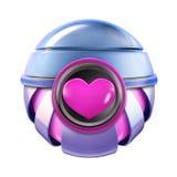 Sfera rosa di amore del metallo del cuore Fotografia Stock