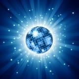 Sfera scintillante della discoteca sul burst blu dell'indicatore luminoso illustrazione vettoriale