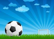 Sfera su un passo di gioco del calcio Fotografie Stock