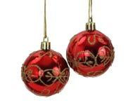 Sfere d'attaccatura dell'albero di Natale dell'oro e di colore rosso Fotografie Stock