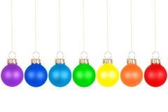 Sfere dell'albero di Natale, colori del Rainbow immagine stock