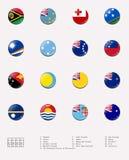 Sfere della bandierina/bolli del paese Oceanian illustrazione vettoriale