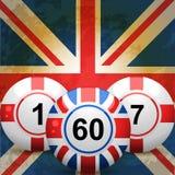 Sfere di bingo dell'Inghilterra e del Regno Unito e bandierina della presa del sindacato Immagine Stock