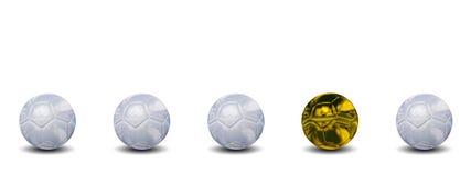 Sfere di calcio concettuali di alta risoluzione 3d Fotografia Stock Libera da Diritti