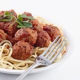 Sfere di carne e degli spaghetti Immagini Stock