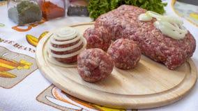 Sfere di carne tritata Fotografia Stock