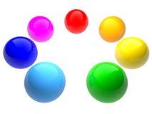 Sfere di colore del Rainbow. Isolato su bianco. Fotografie Stock Libere da Diritti