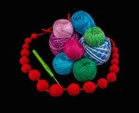 Sfere di filato per lavorare a maglia Fotografie Stock