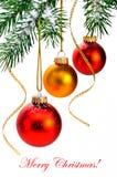 Sfere di natale sull'albero di Natale. Fotografia Stock