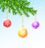 Sfere di natale sulla filiale dell'albero di Natale Fotografia Stock