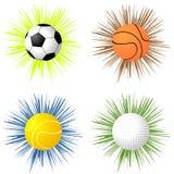 Sfere di sport sopra starburst Immagine Stock Libera da Diritti