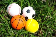 Sfere di sport sull'erba. Fotografie Stock Libere da Diritti
