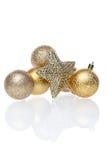 Sfere dorate dell'albero di Natale Immagine Stock Libera da Diritti