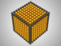 Sfere dorate e nere o figura del cubo dei branelli Fotografia Stock Libera da Diritti