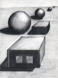 Sfere e cubi Fotografia Stock