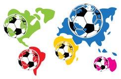 Sfere e mondo di calcio Fotografie Stock