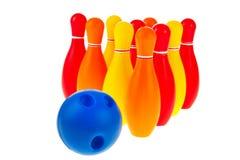 Sfere e perni di bowling Fotografie Stock