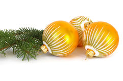 Sfere ed albero di Natale dorati immagine stock libera da diritti