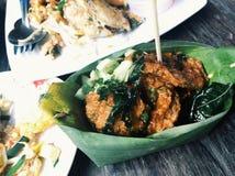 Sfere fritte della pasta di pesce Immagini Stock