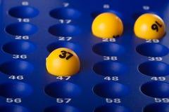 Sfere gialle di Bingo Fotografie Stock