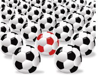 Sfere per gioco del calcio Immagini Stock