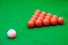 Sfere rosse dello snooker Fotografie Stock