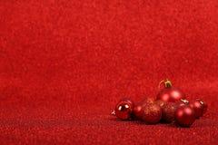Sfere rosse di natale Fotografie Stock