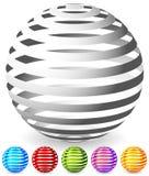 Sfere a strisce in 6 colori Immagine Stock Libera da Diritti