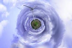 Sferisch panorama van een windenergieinstallatie Royalty-vrije Stock Foto
